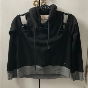 Hollister cropped cold shoulder hoodie sweatshirt